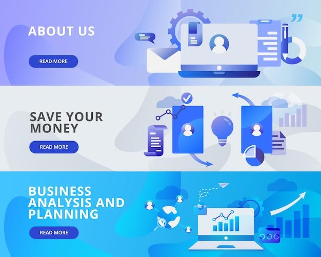 私たちのウェブバナー、お金を節約、ビジネスと計画 Premiumベクター