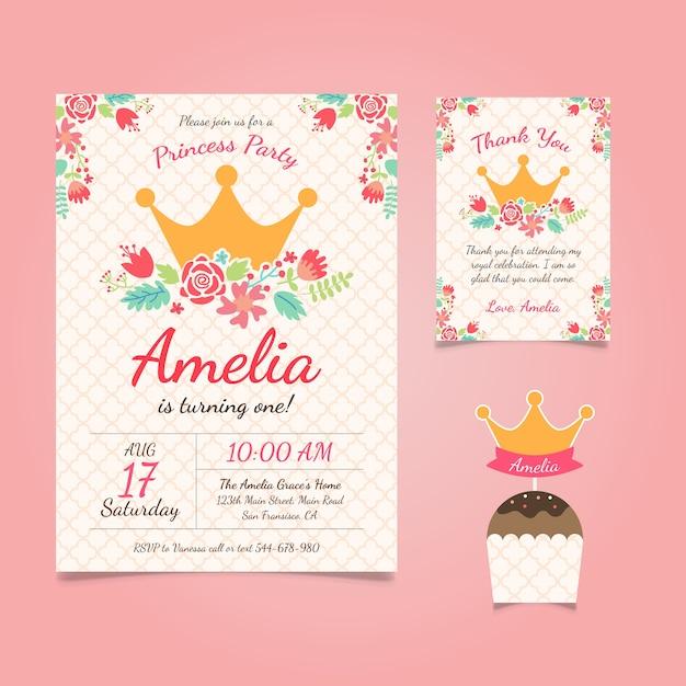 花とプリンセスの誕生日の招待状 無料ベクター