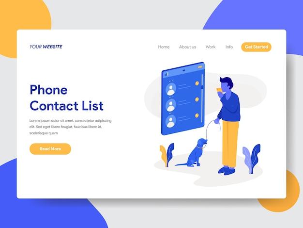 Иллюстрация списка контактов телефона для веб-страниц Premium векторы