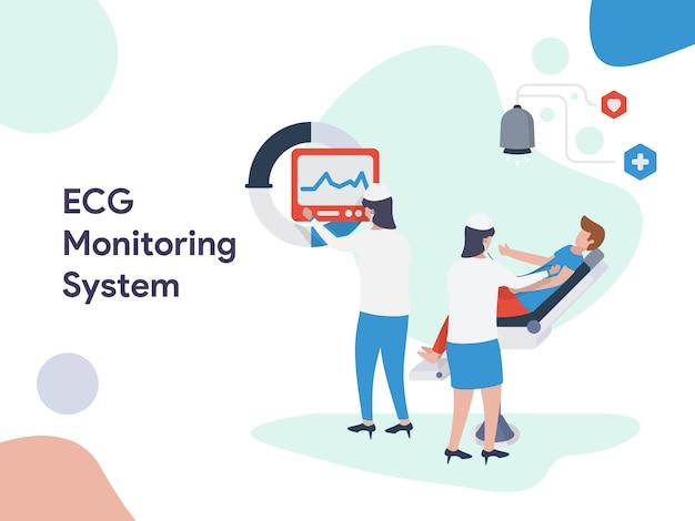 Иллюстрация системы мониторинга экг Premium векторы