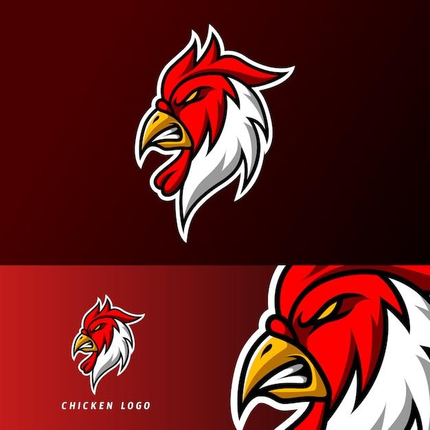 Шаблон логотипа спортивного игрового кибер тушеного мяса с красной курицей для команды Premium векторы