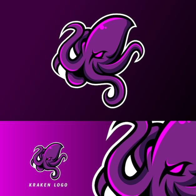 Кракен осьминог кальмары талисман спорт кибер логотип шаблон Premium векторы