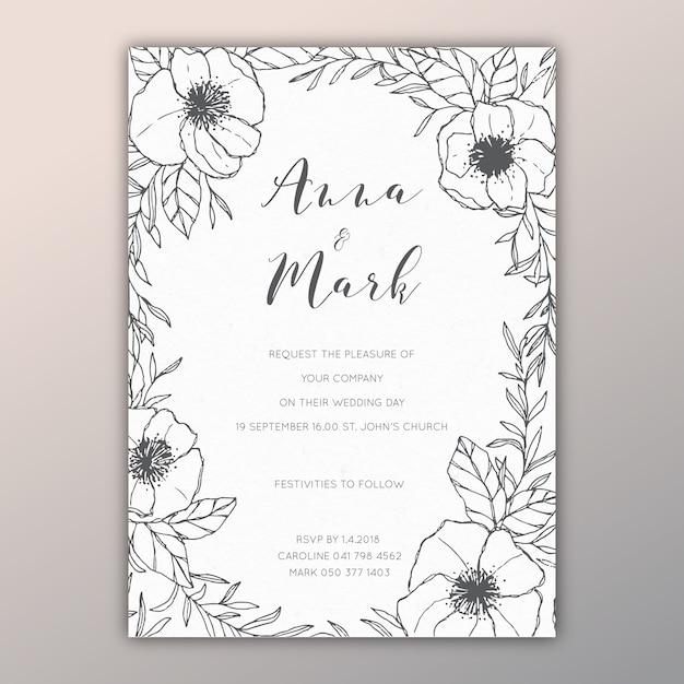手描きのイラスト付き花結婚式招待状 ベクター画像 無料ダウンロード