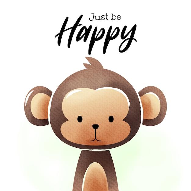 Акварельное искусство мультфильма обезьяна Premium векторы