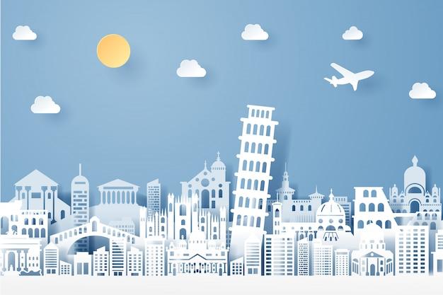 Бумага вырезать из италии ориентир, путешествия и туризм концепции Premium векторы