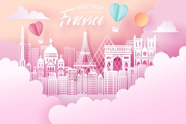 Отрезок бумаги ориентир ориентира франции, концепции перемещения и туризма. Premium векторы