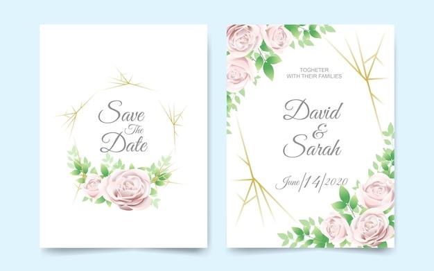 美しい花の結婚式の招待カード Premiumベクター