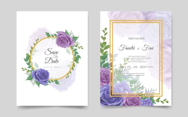 青と紫の花を持つ結婚式の招待カードテンプレート Premiumベクター