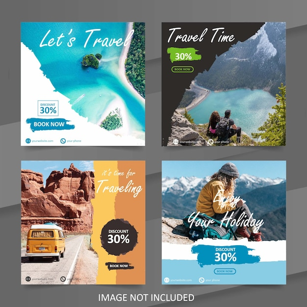 Шаблон баннера путешествия путешествия социальных медиа Premium векторы