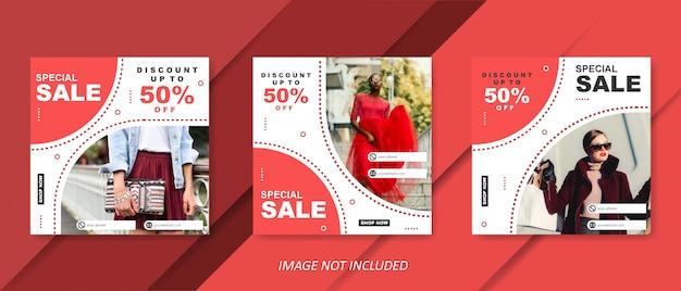 ソーシャルメディアの投稿の赤の現代ファッション販売テンプレート Premiumベクター