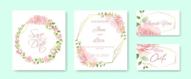 美しい花のウェディングカードセット Premiumベクター