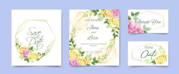 美しい花で設定した結婚式の招待カード Premiumベクター