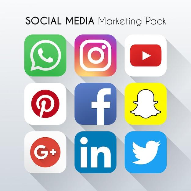 ソーシャルメディアマーケティングアイコンベクトル 無料ベクター