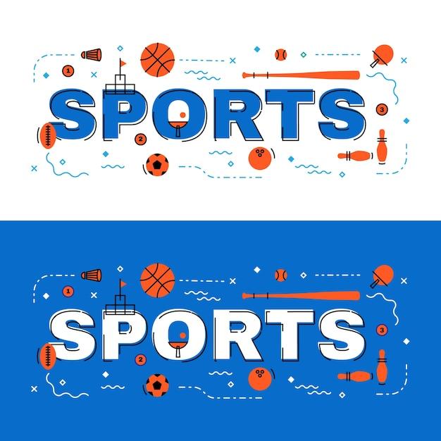 スポーツバナー、アイコン付きスポーツレタリングフラットラインデザイン Premiumベクター
