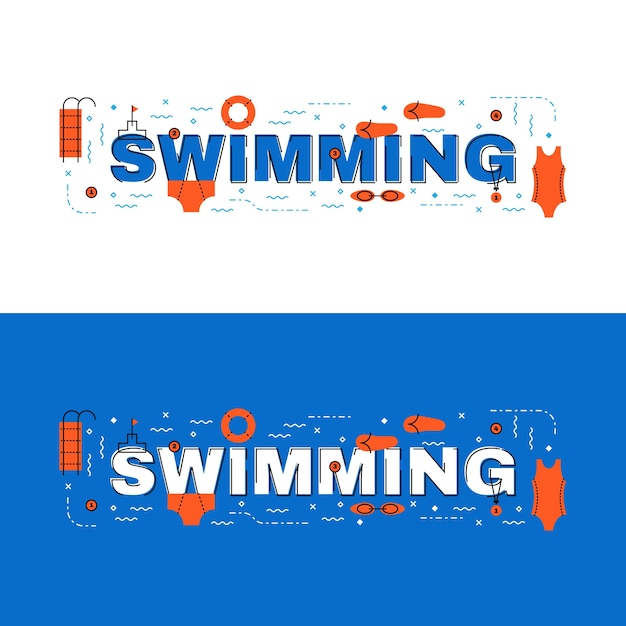 Плавательный баннер, плавный надпись на плоской линии с иконками Premium векторы