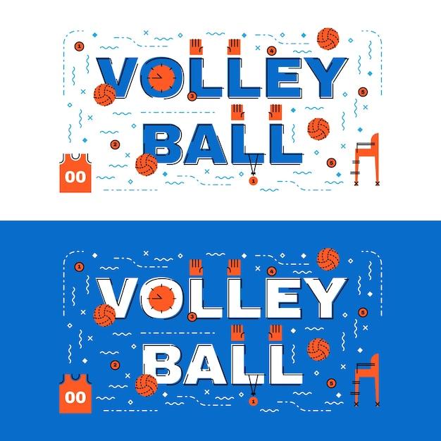 Волейбольный баннер, волейбольная надпись с плоскими линиями с иконками Premium векторы