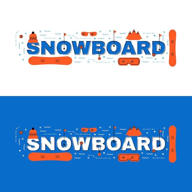 Сноуборд-баннер, сноуборд с надписями Premium векторы