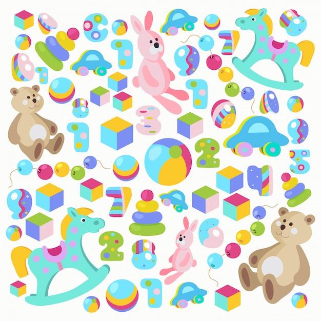 カラフルなテディベア、ロッキングホース、ピンクのウサギのおもちゃセット Premiumベクター