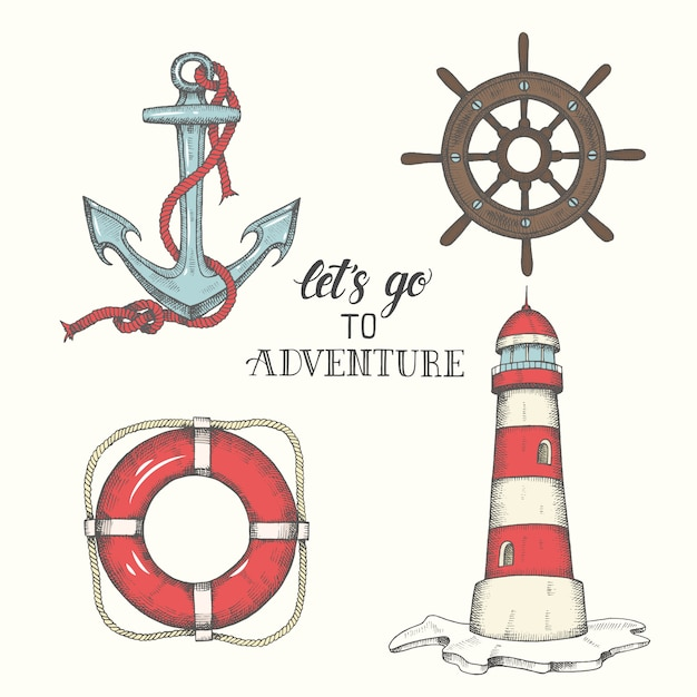 手描きベクトルアンカー、灯台、救命浮輪とホイール Premiumベクター
