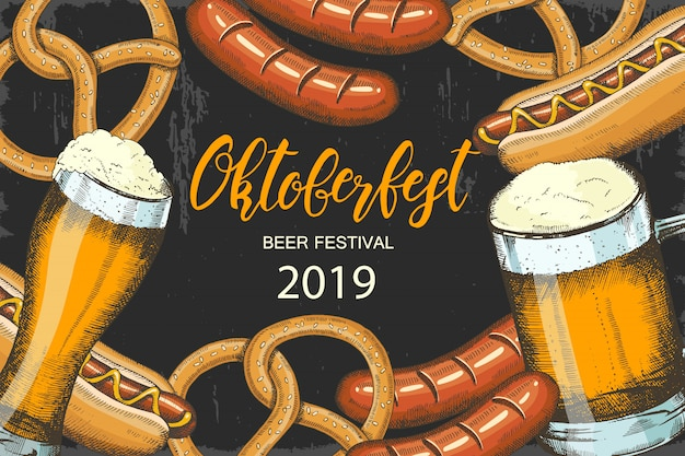 Октоберфест праздник фон с рисованной пиво, крендель, колбаса и хот-дог. Premium векторы