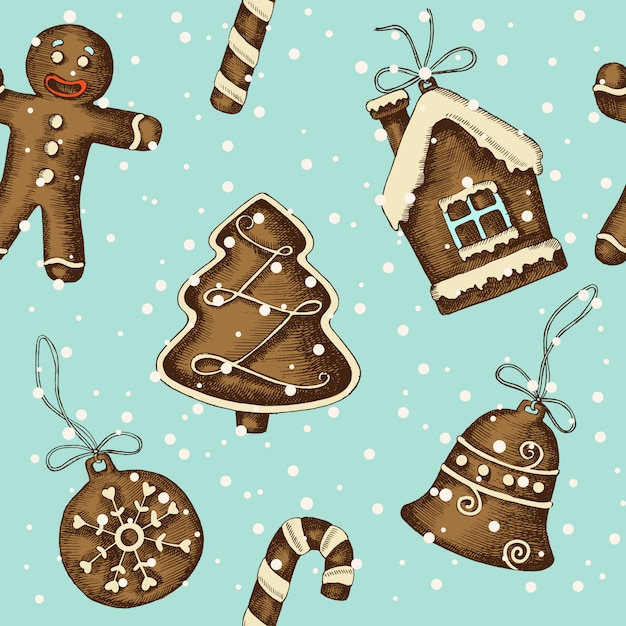 Рождественский фон с рисованной пряник Premium векторы