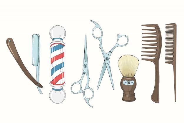 ヴィンテージ手描き下ろし理髪店はスケッチスタイルに設定します。 Premiumベクター