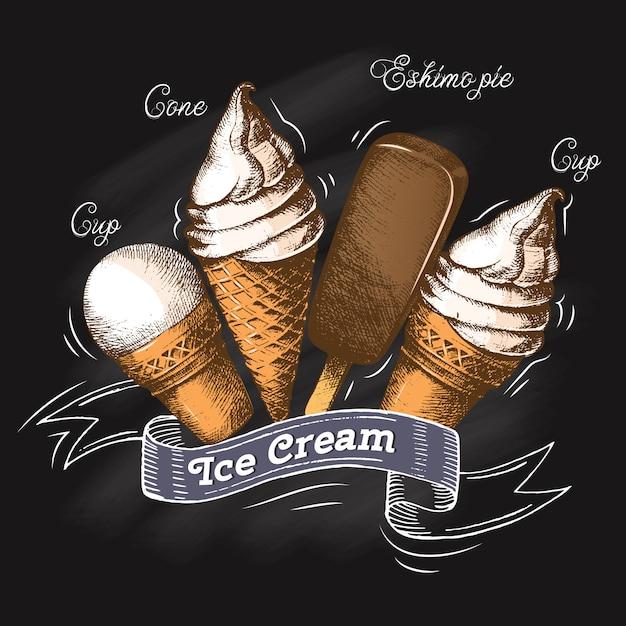 黒板チョークでアイスクリームのセットです。スケッチ。夏の季節図 Premiumベクター