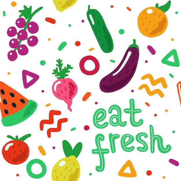 果物と野菜のシームレスパターン Premiumベクター