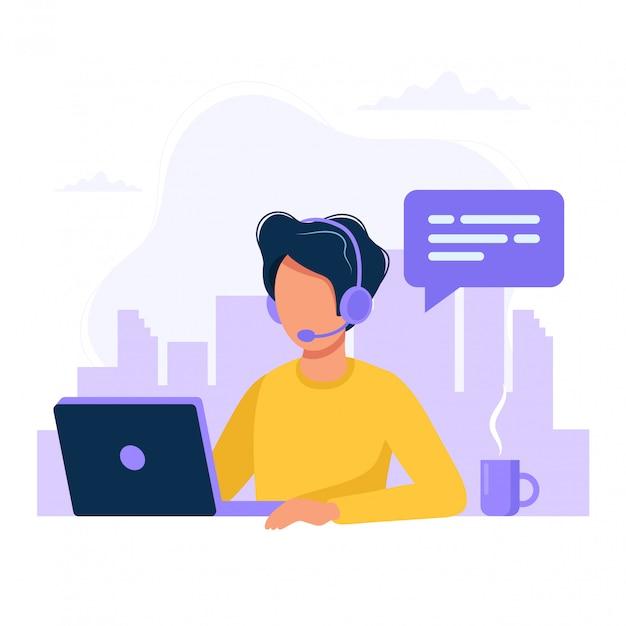 Человек с наушниками и микрофоном с компьютером Premium векторы
