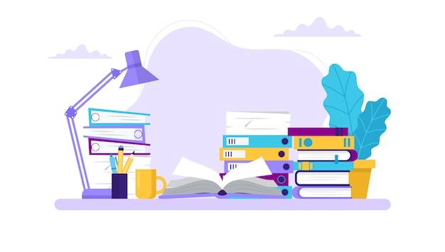 勉強、本とさまざまなフォルダーを持つテーブル。 Premiumベクター