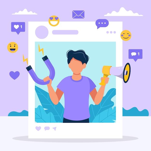Влияние социальных сетей. иллюстрация с человеком, держащим мегафон и магнит в рамке социального профиля. Premium векторы