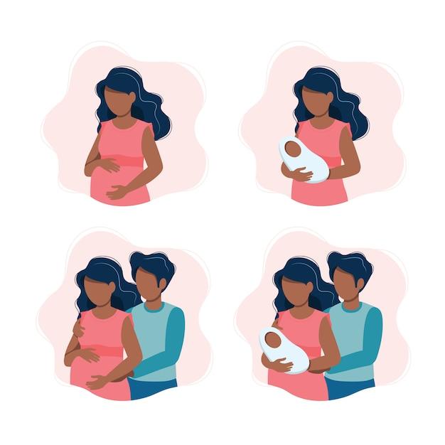 Черная беременная женщина, женщина с новорожденным ребенком, ожидающая черная пара, родители с ребенком Premium векторы