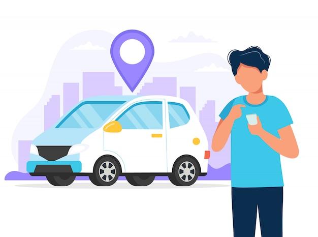 Человек с смартфон с приложением, чтобы найти местоположение автомобиля. прокат автомобилей через мобильное приложение Premium векторы