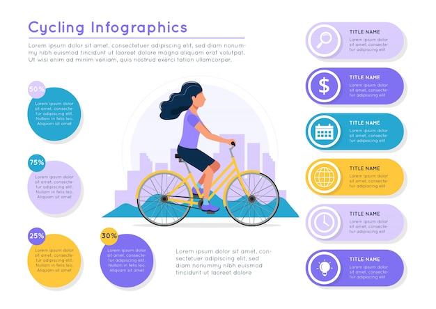 Велосипед езда женщина с городской пейзаж, различные данные красочные элементы. Premium векторы