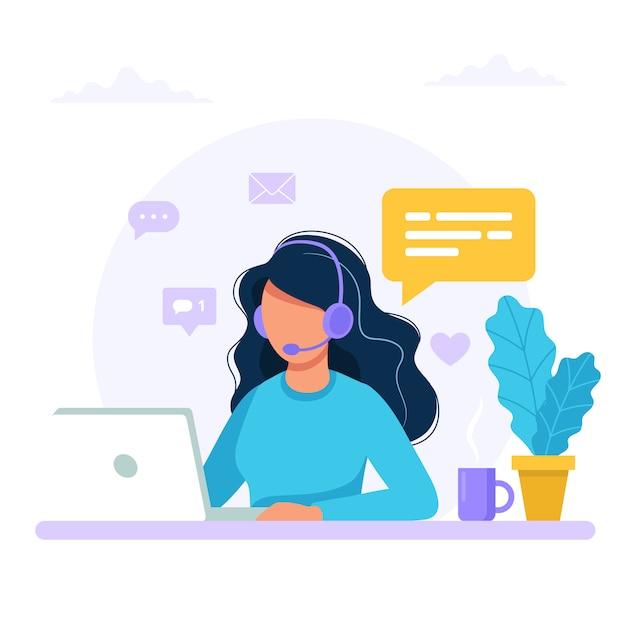Свяжитесь с нами. женщина с наушниками и микрофоном с компьютером. Premium векторы
