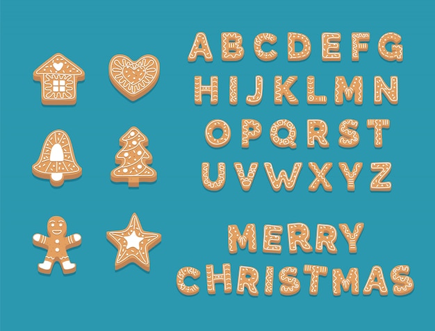 ジンジャーブレッドクッキーコレクション、かわいいクリスマスアルファベット、クッキー Premiumベクター