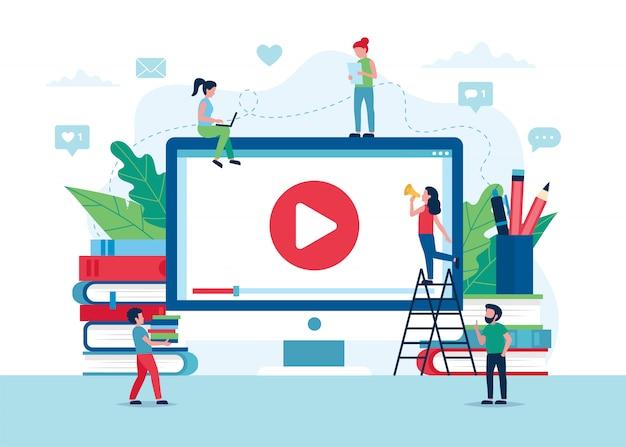 オンライン教育の概念、ビデオ、本、鉛筆で画面。 Premiumベクター