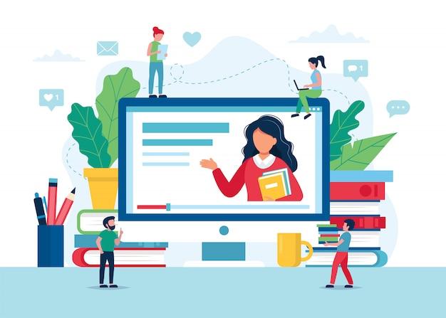 オンライン教育の概念、教師、本、鉛筆と画面。 Premiumベクター
