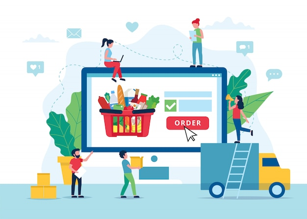食料品の配達の概念、注文食品をオンラインで。 Premiumベクター