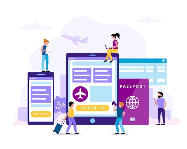 チェックイン、タブレット、スマートフォン、パスポート、搭乗券の概念図。 Premiumベクター