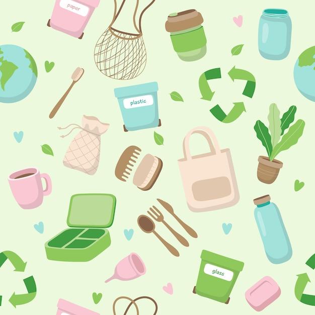さまざまな要素を持つゼロ廃棄物概念シームレスパターン。 Premiumベクター