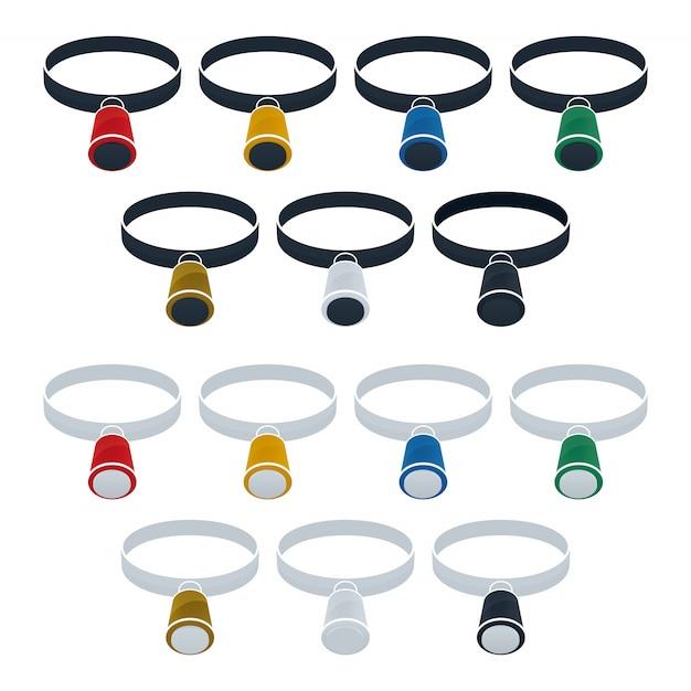虫眼鏡フラットアイコンセット Premiumベクター