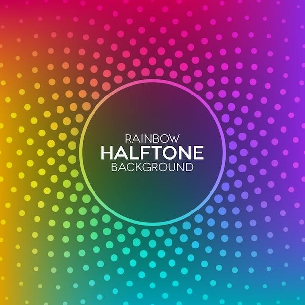 ハーフトーンテクスチャと虹のグラデーションの背景 Premiumベクター