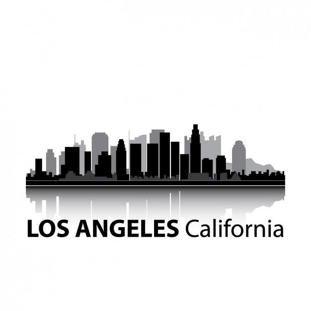 ロサンゼルスのスカイラインのデザイン 無料ベクター