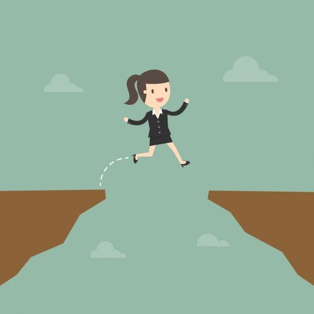 Деловая женщина прыгает риск Бесплатные векторы