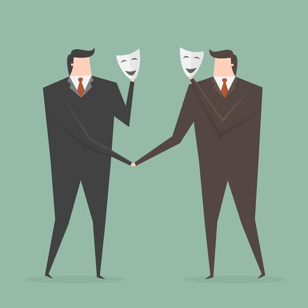 Два предпринимателей с масками Бесплатные векторы