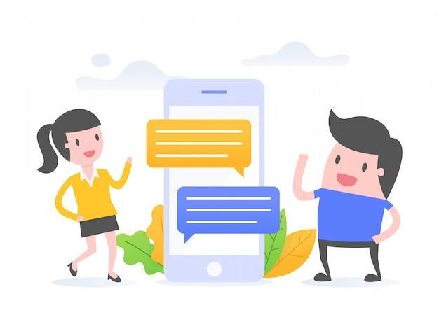 オンラインコミュニケーション Premiumベクター