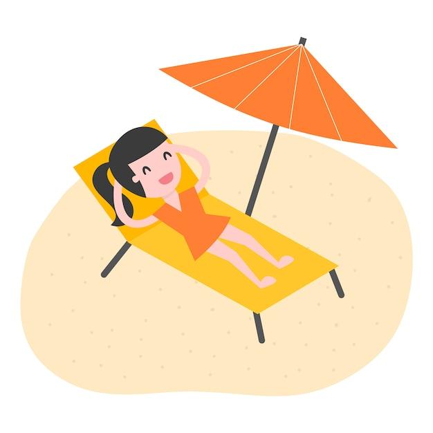 Молодая женщина отдыха на пляже. Premium векторы