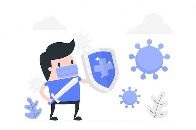 Иллюстрация концепции иммунной системы. Premium векторы