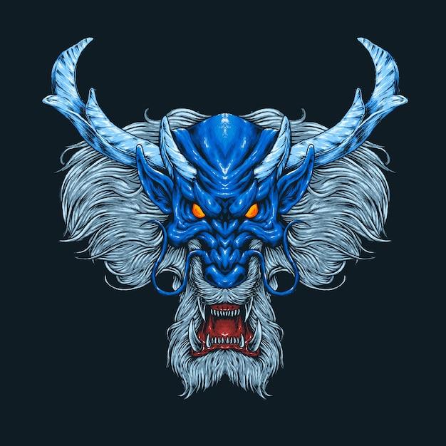 青いドラゴンヘッドの図 Premiumベクター